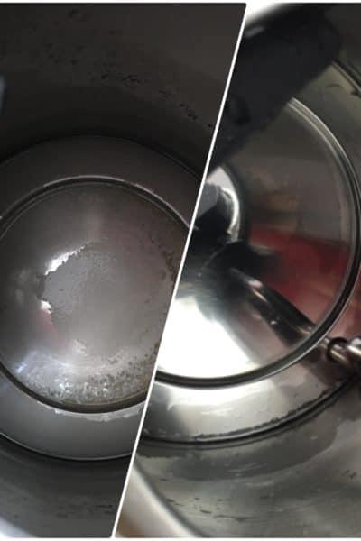 Antes y después de limpiar hervidor de agua