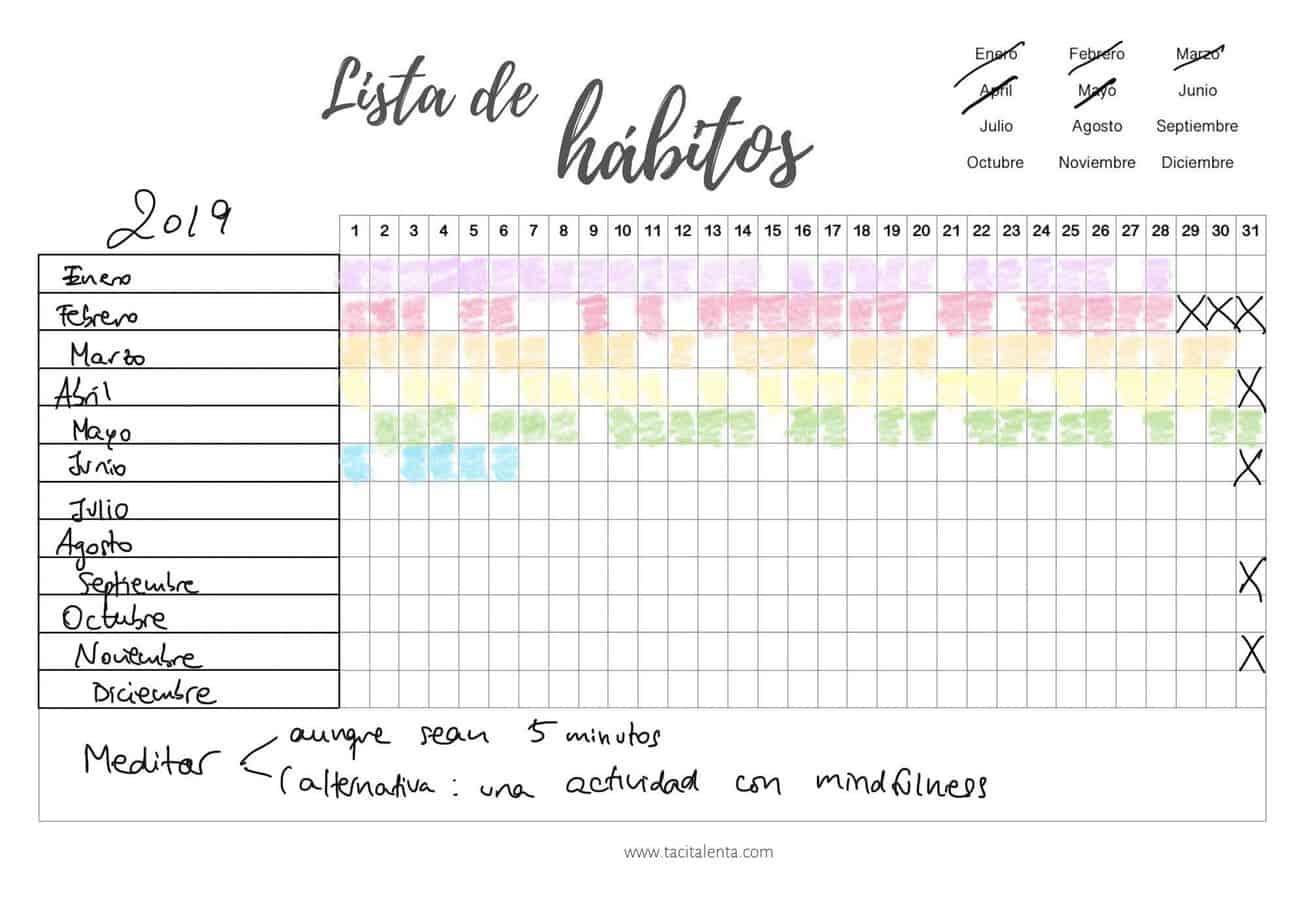 Usar un habit tracker (registro de hábitos) para un año