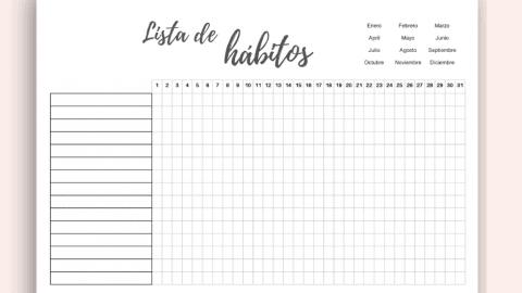 Registro de hábitos para imprimir