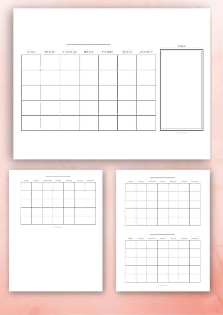 Calendario mensual en varios tamaños