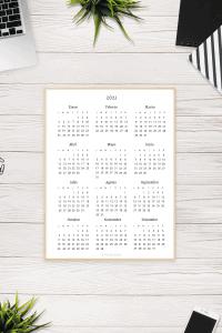 Calendario de 2021 en blanco y negro