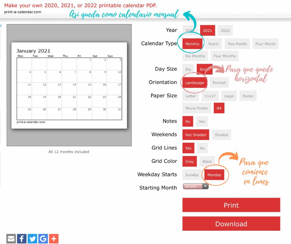 Cómo personalizar un calendario mensual