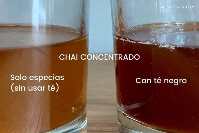 Comparación entre un vaso con concentrado de chai con té negro y otro sin té