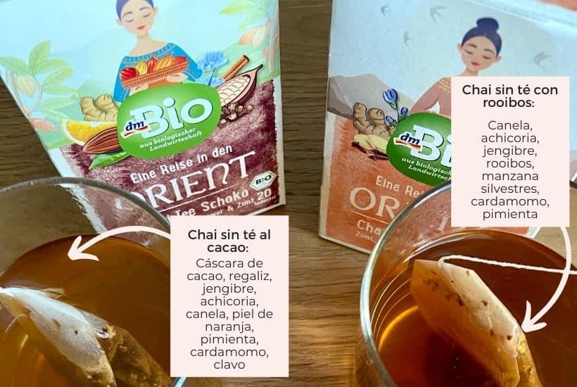 Bolsitas de chai sin té negro, con cacao o rooibos, marca alemana DM